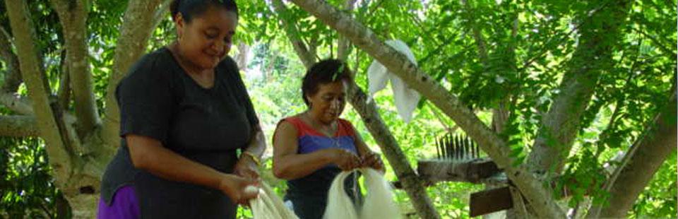 Tejedoras de hamacas en Yucatán.