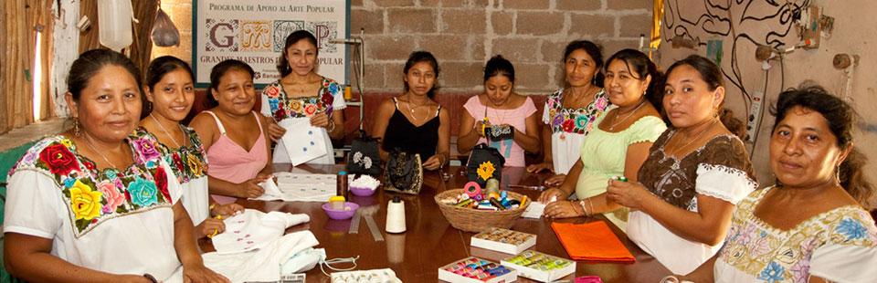 Taller de textiles en Yucatán.