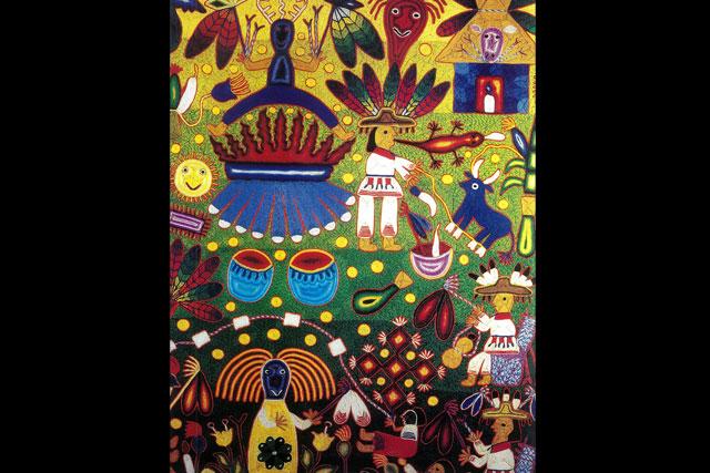 Refugio González López | Tabla huichol: La fiesta del maíz y de los niños, 1997 | Estambres pegados con cera de Campeche en base de madera | Tuxpan de Bolaños, Jalisco.